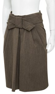 Marni Silk Woven Pleat Bow Front Gathered Knee Length Pencil 642m Skirt Brown
