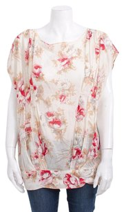 Marni Cotton Red Pink Floral Short Cap Sleeve Print Tee Shirt 642m Top Ivory
