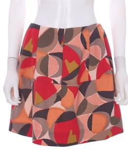 Marni Wool Designer Bell Mini Mini Skirt Pinks, Oranges, browns