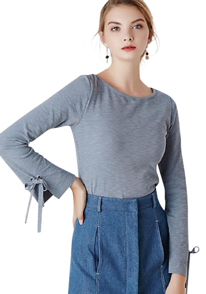 MASKED QUEEN Women's Casual/Daily Simple Spring T-shirtSolid Round Neck Long Sleeve