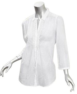 Massimo Dutti White Sheer Cotton Gold Piping Detail Button Front Top