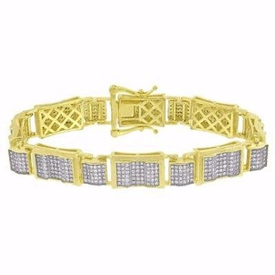 14k Gold Finish Bracelet Sterling Silver Simulated Diamond Mens Hip Hop Iced Out