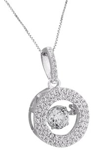 925 Silver Pendant Round Cut Solitaire Halo Charm Box Necklace Ladies Unique Set