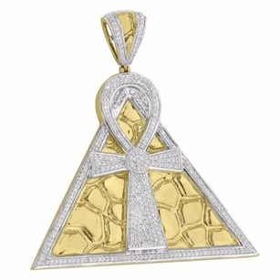 Master Of Bling Ankh Cross Pendant Egyptian Pyramid 10k Yellow Gold Genuine Diamonds Pave Set