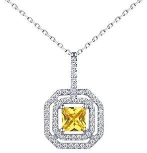 Canary Princess Cut Pendant 925 Silver Solitaire Simulated Diamond Necklace Set