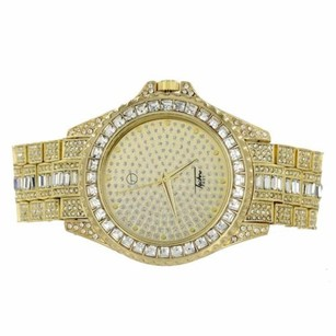 Gold Tone Watch Techno Pave Simulated Diamonds Iced Out Hip Hop Master Of Bling