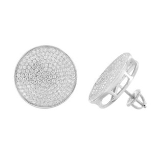 Master Of Bling Iced Out Round Earrings Simulated Diamonds Screw Back Studs Mens Womens 18mm