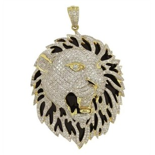 Master Of Bling Lion Face Pendant 14k Yellow Gold Iced Out Black Solid Back Simulated Diamonds