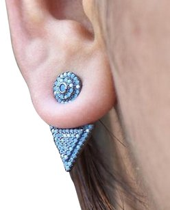 Master Of Bling Turquoise Pyramid Earrings Iced Out 925 Sterling Silver Black Plated Womens