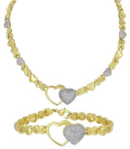 Womens Necklace Bracelet Set Heart X Link Chain Yellow Gold Tone Iced Out Ladies