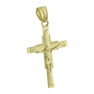 Master Of Bling Jesus Christ Crucifix Pendant Real 10k Yellow Gold High End Hip Hop Rapper Wear