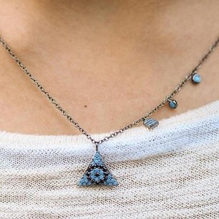 Master Of Bling Evil Eye Pyramid Pendant Turquoise Black Stones Sterling Silver Charms Necklace
