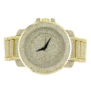 Men Hip Hop Watch Iced Out Gold Tone Techno Pave Bling Rapper Simulated Diamond