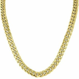 Master Of Bling Mens Miami Cuban Link Necklace Chain 10k Yellow Gold Elegant Style Inches