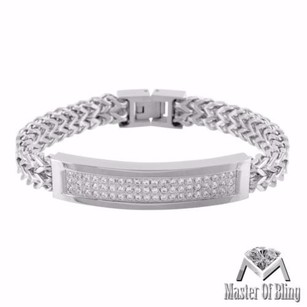 Master Of Bling Mens Row Franco Style Chain Bracelet Iced Out Id Link Stainless Steel Zirconia