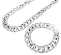 Miami Cuban Bracelet Necklace Set White Gold Tone Iced Out Stones Heavy 500g App