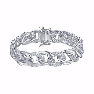 Master Of Bling Miami Cuban Ladies Bracelet White Rhodium Plated Simulated Diamonds Custom Piece