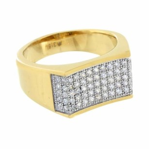 Gold Finish Men Ring Stainless Steel Simulated Diamond Wedding Engagement Unique