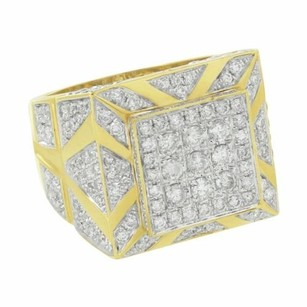 Master Of Bling Solitaire Mens Square Ring Custom Face 14k Yellow Gold Genuine Diamond 3.66ct