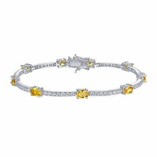 Master Of Bling Sterling Silver 925 Bracelet Canary Solitaire Simulated Diamonds Custom Inch