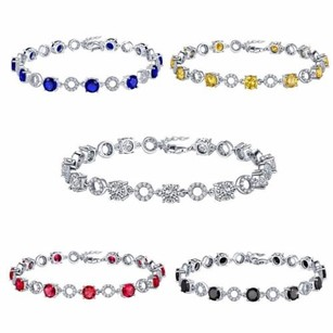Master Of Bling Sterling Silver Bracelets Blue Red Canary Black Solitaire Stones Sterling Silver