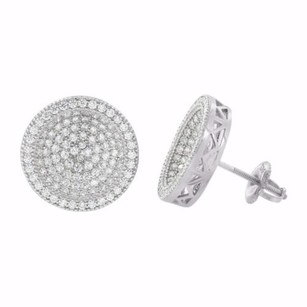 Sterling Silver Round Earrings Studs Simulated Diamonds Screw Back Iced Out Pave