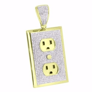 Master Of Bling Wall Plug Socket Pendant 10k Yellow Gold 1.50 Ct Diamonds Mens High End Charm