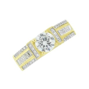 Womens Bridal Solitaire Ring Gold Finish Sterling 925 Silver Wedding Engagement