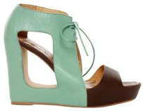 Matiko Leather Platform Blue/Brown Wedges