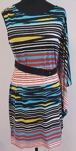 Max and Cleo Striped Poly Blend One Belted T740 Dress