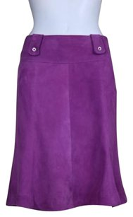 Max Mara Womens Ksirt Med Suede Leather Career Skirt Magenta