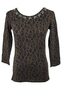 Max Mara Weekend 59760419 Embellished Floral Womens T Shirt Brown