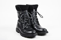 Max Mara Leather Combat Black Boots