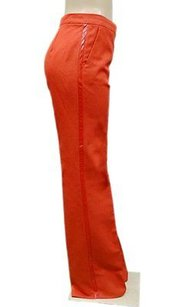 Max Mara Tomato Red Leather Side Trim Detail Manu 90531mm Pants