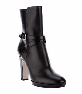 Max Mara Black Leather Strap Blacks Boots