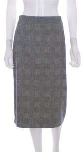 Max Mara Italy Tweed Wool Blend Skirt Gray