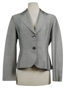 Max Mara Max Mara Womens Gray Striped Blazer Med Basic Jacket Career