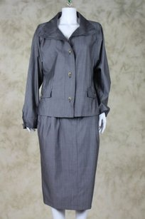 Max Mara Max Mara Womens Gray Skirt Suit Wool Blazer Below Knee Career
