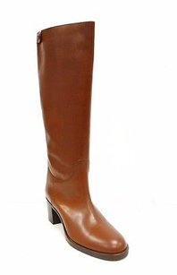 Max Mara Leather Zip Back Riding 80622mm Brown Boots