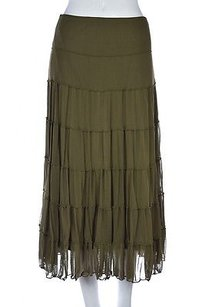 Max Studio Womens A Line Below Knee Elastic Casual Skirt Green