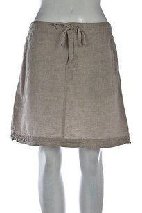 Max Studio Womens A Line Linen Solid Above Knee Casual Skirt Tan