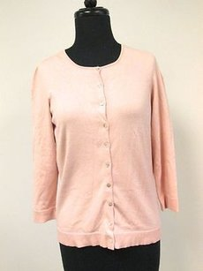 Max Studio Silk Sleeves Solid Button Up Cardigan Szs F455 Sweater