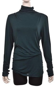 Max Studio Womens Turtleneck Long Sleeve Casual Solid Shirt Top Green