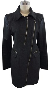 McGinn For Nordstrom Charcoal Wool Black Pleather Contrast Coat