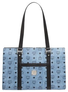MCM Leather Mwp5snh05 Tote in Denim Blue