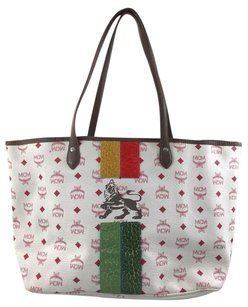 MCM Snakeskin Embossed Tote in White