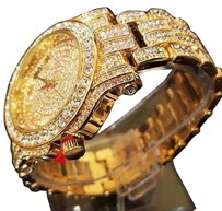 Men Hip Hop Iced Out Gold Tone Simulated Diamond WATCH & Cuban Bracelet Gift Set