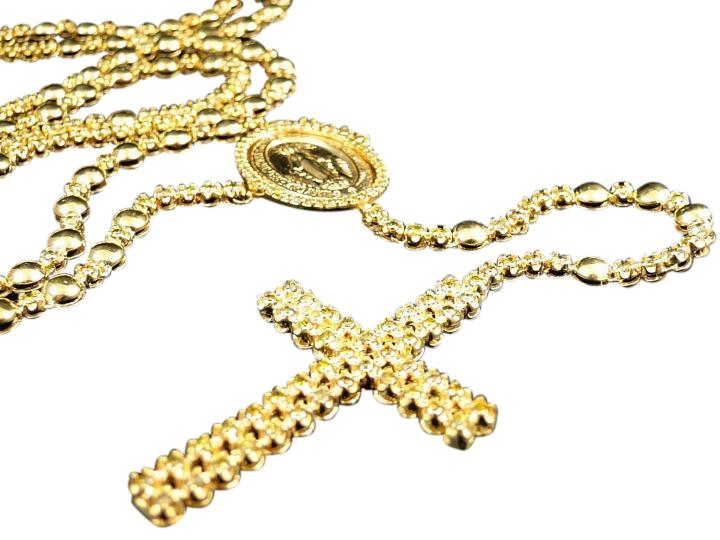 Mens 10k Yellow Gold Rosary Canary Diamond Chain 100 Ct Necklace