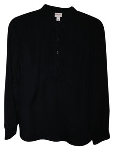 Merona Pleated Longsleeve Polyester Top BLACK TUXEDO POPOVER BLOUSE