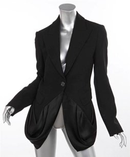 Michael Kors Womens Black Wool Draped Blazer Jacket